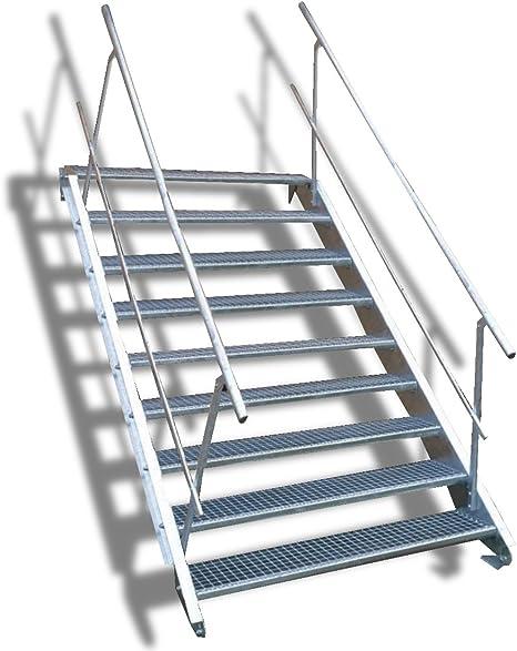 9 Escalera de acero Escaleras con doble cara barandilla/Nivel ancho Planta 160 cm/Altura 135 – 180 cm/Incluye Extremos de escaleras de U de perfil + Rejilla de escaleras + Tornillos, Tuercas/mejilla Escaleras