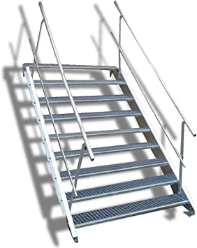 9 Escalera de acero Escaleras con doble cara barandilla/Nivel ancho Planta 160 cm/Altura 135 –
