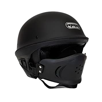 Motorcycle Vader Street Helmet DOT Approved - Solid Matte Black - LARGE