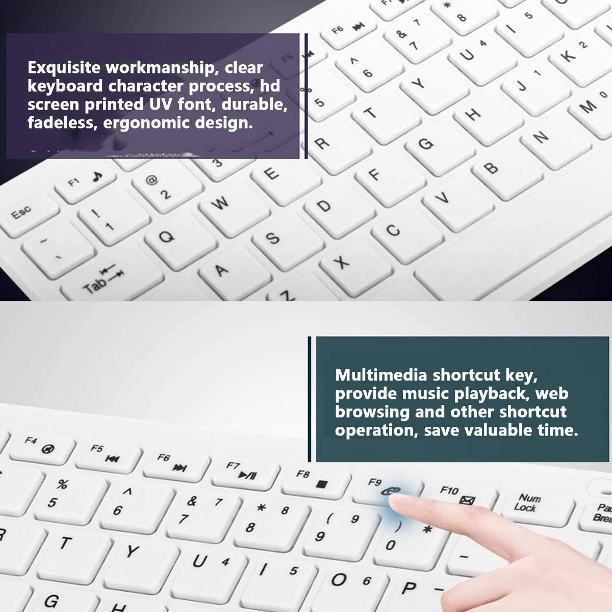 Ezonedeal Wireless Keyboard Mouse Combo Full Size Slim Thin Wireless Keyboard and Mouse Combo with USB Nano Receiver for Laptop PC