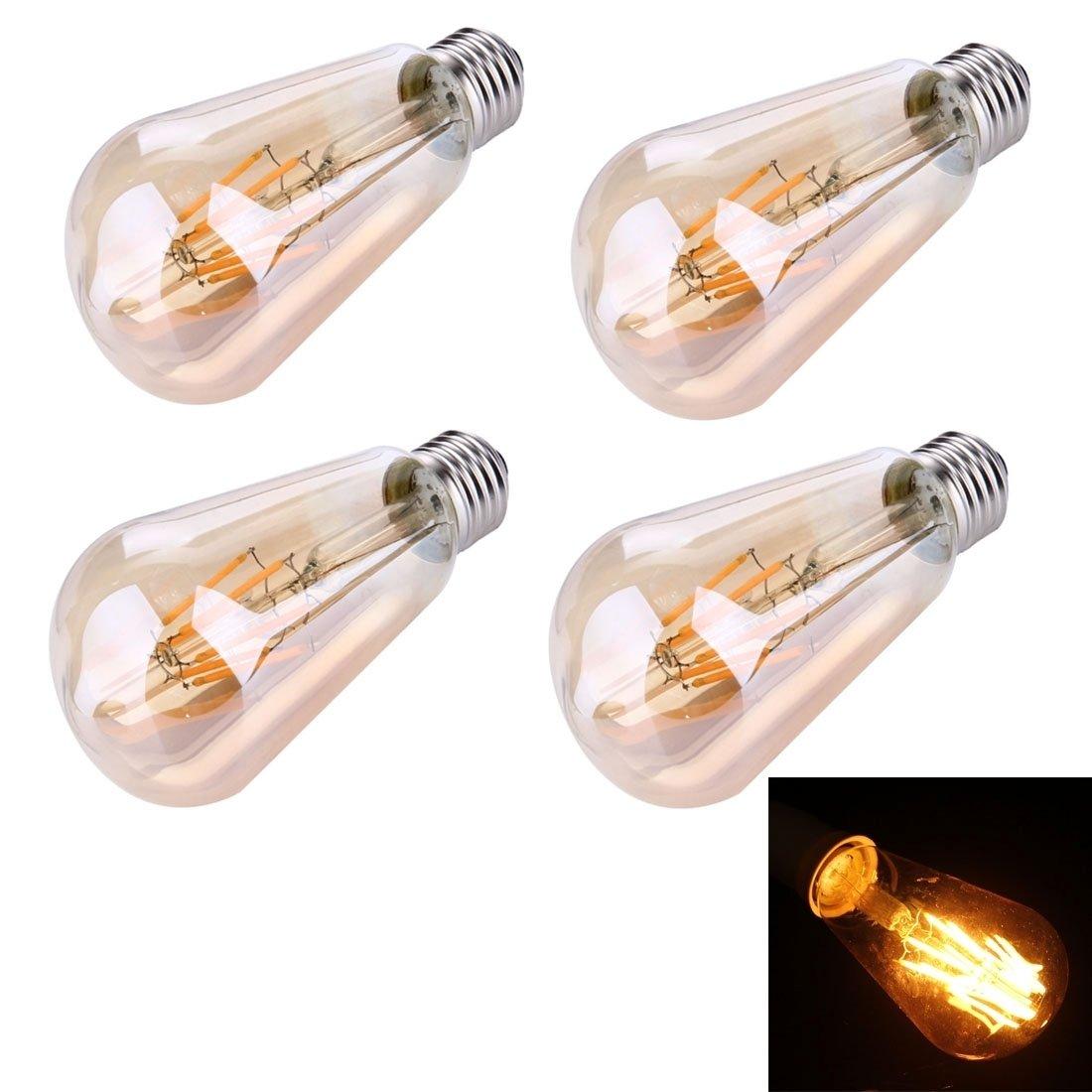 Dauerhaft Gut aussehende Mode 4 STÜCKE ST64 E27 6W 6 LEDs 480 LM Retro Energiesparende LED-Glühlampe für Hallen, AC 85-265V Mode