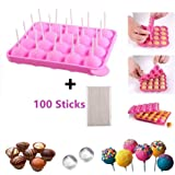 BPA Free Pop Cake Mould Silicone Lollipop Candy Mold Ice Cube Trays+100 Sticks Gumdrop Jelly Molds- Pink