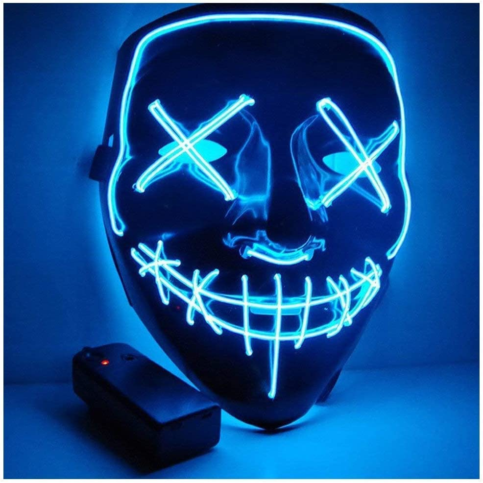 CompraFun Máscara LED Halloween, Máscara Disfraz Luminosa Craneo Esqueleto, para Navidad Halloween Cosplay Grimace Festival Fiesta Show, Funciona con Baterías (no Incluidas) (Azul)