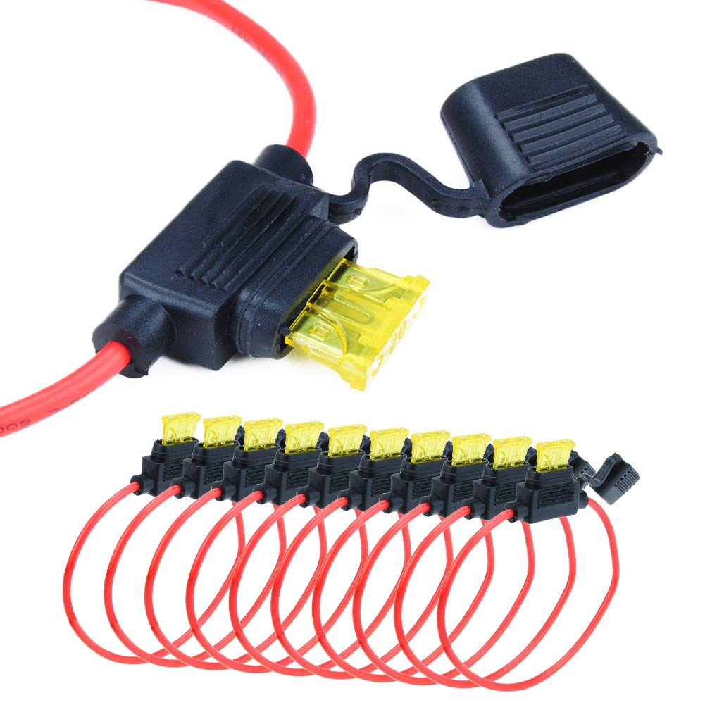 HUICAO 10 Set Fuse Holder Waterproof 14 Gauge Inline Fuse Holder for Standard//Regular Blade Fuse Included 20A ATM Fuse