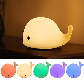 Agapo LED Nachtlicht Kinder Stimmung Lampe Delphin mit 6 Beleuchtung ...