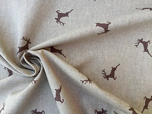 HomeBuy Deer Fabric - Curtain Upholstery Material Linen Look and Feel Fabric Christmas Moose Elk Print - 55