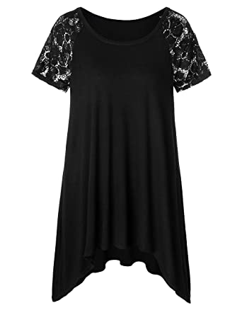 5be767c2010 DUNEA Women s Plus Size Lace Sleeve Tunic Tops Irregular Hem Scoop Neck  Pleated Flowy Loose Tshirt