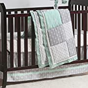 Mint Woodland and Geometric Patchwork 3 Piece Crib Bedding by The Peanut Shell