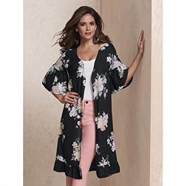 1d39370dc Amazon.com  Floral Ruffle Duster  Clothing