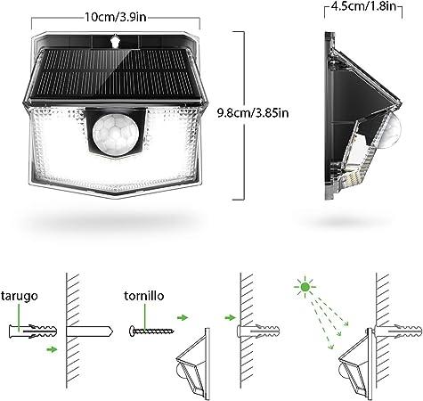 Mpow Lámpara Solar, 30 LED Luz Solar de Exterior, 270° Ángulo de Iluminación, PIR Sensor de Movimiento, Impermeable IP65, Fácil de Instalar, Luz Blanca Jardín, Garaje, Terraza, Patio, 4 Piezas: Amazon.es: Hogar
