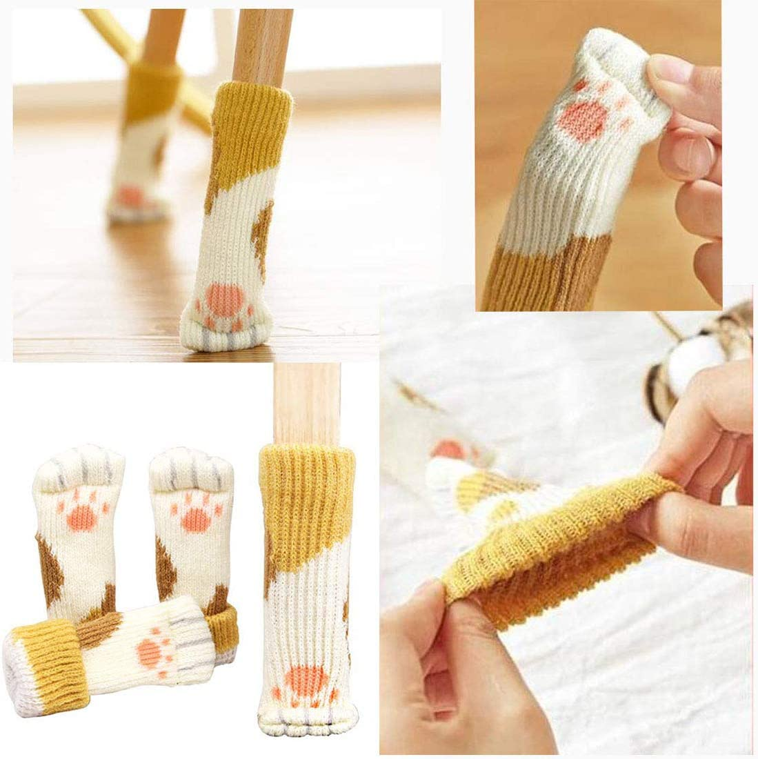 Thick Wood Floor Furniture Leg Protectors Pads Covers Caps Set 24PCS Chair Leg Socks Avoid Scratches /& Noise 6 Set Cat Paw Elastic Knitted Furniture Booties