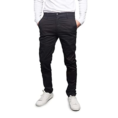 Victorious Men's Basic Casual Slim Fit Stretch Chino Pants at Men's Clothing store