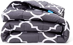 Luna Adult Weighted Blanket | 20 lbs - 60x80 - Queen Size Bed | 100% Oeko-Tex Cooling Cotton & Premium Glass Beads | USA Designed | Heavy Cool Weight for Hot & Cold Sleepers | Quatrefoil Silver - Grey