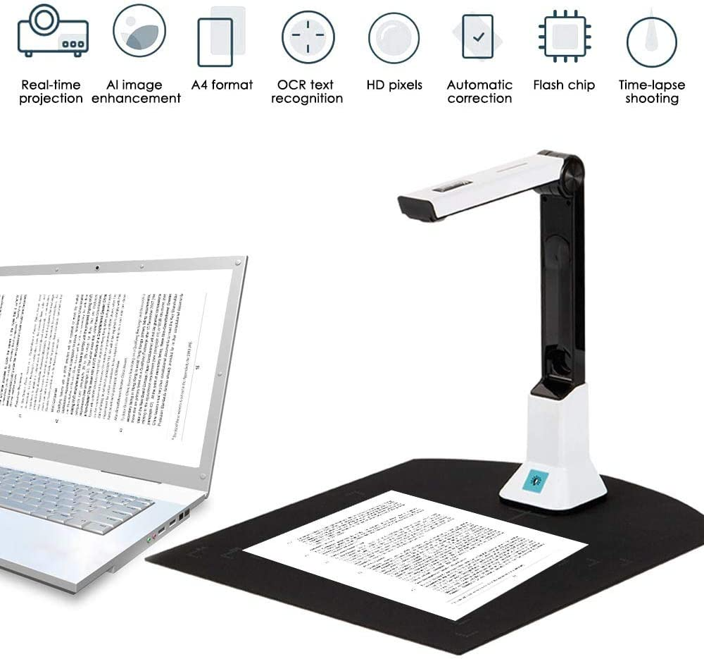 S SMAUTOP Portable high-Definition Scanner, Document Camera with Real-time Projection Video Recording Function, A4 scan Size of Classroom Office Library Bank Document Recognition Scanner