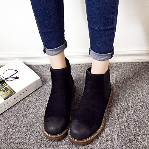 Women's Chelsea fereshte Short on Low Black Suede Slip Bootie Boots Heel Ankle H1qSwdq