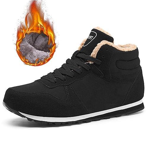 Mujer Hombres Botas de Nieve Zapatos Botines Invierno Piel de Cuero cálido Forrado no Deslizamiento Casual Botas: Amazon.es: Zapatos y complementos