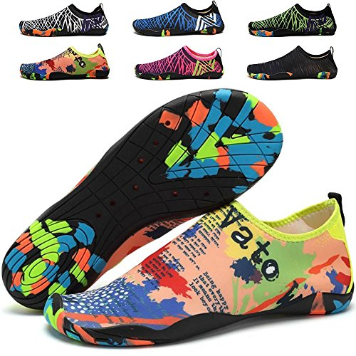 - Quickshark Womens and Mens Summer Water Shoes Quick-Dry Barefoot Aqua Socks for Swim Beach Walking Yoga Surf Dive (US Women 10.5/Men 9=EU 42, Yellow)