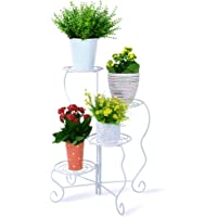 Homes Garden Metal Plant Stand Shelf Flower Pot Holder Multifunctional Corner Rack Foldable Easy to Assemble Modern Indoor & Outdoor Home Decor by Garden