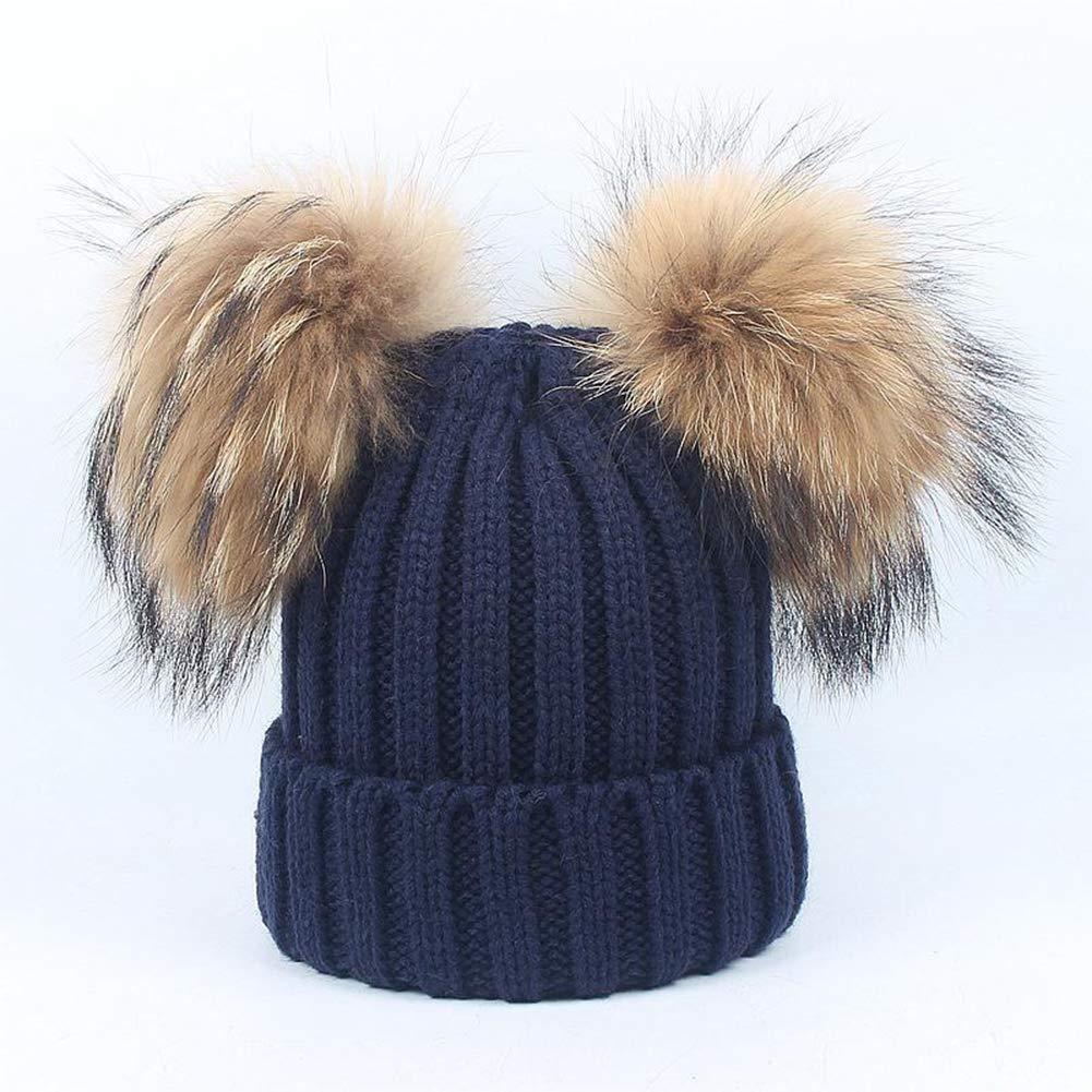 GESDY Baby Boys Girls Caps Scarf Set Warm Knit Hats Raccoon Fur Pompom Bobble Caps 1-6Years