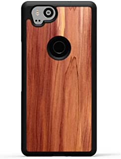 product image for Carved Pixel 2 Eastern Red Cedar Wood Traveler Protective Case, Unique Real Wooden Phone Cover (Rubber Bumper, Fits Google Pixel 2)