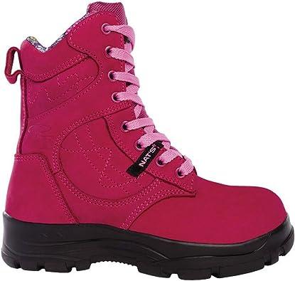 Steel Toe Work Boots - Raspberry