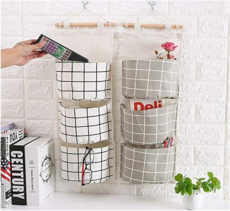 /Étag/ère Mural en tissu Panier Pochette de Rangement avec 3 Poches Sacs Organisateur Pour Chambre Salle de Bain Cuisine Sac de Rangement Suspendu