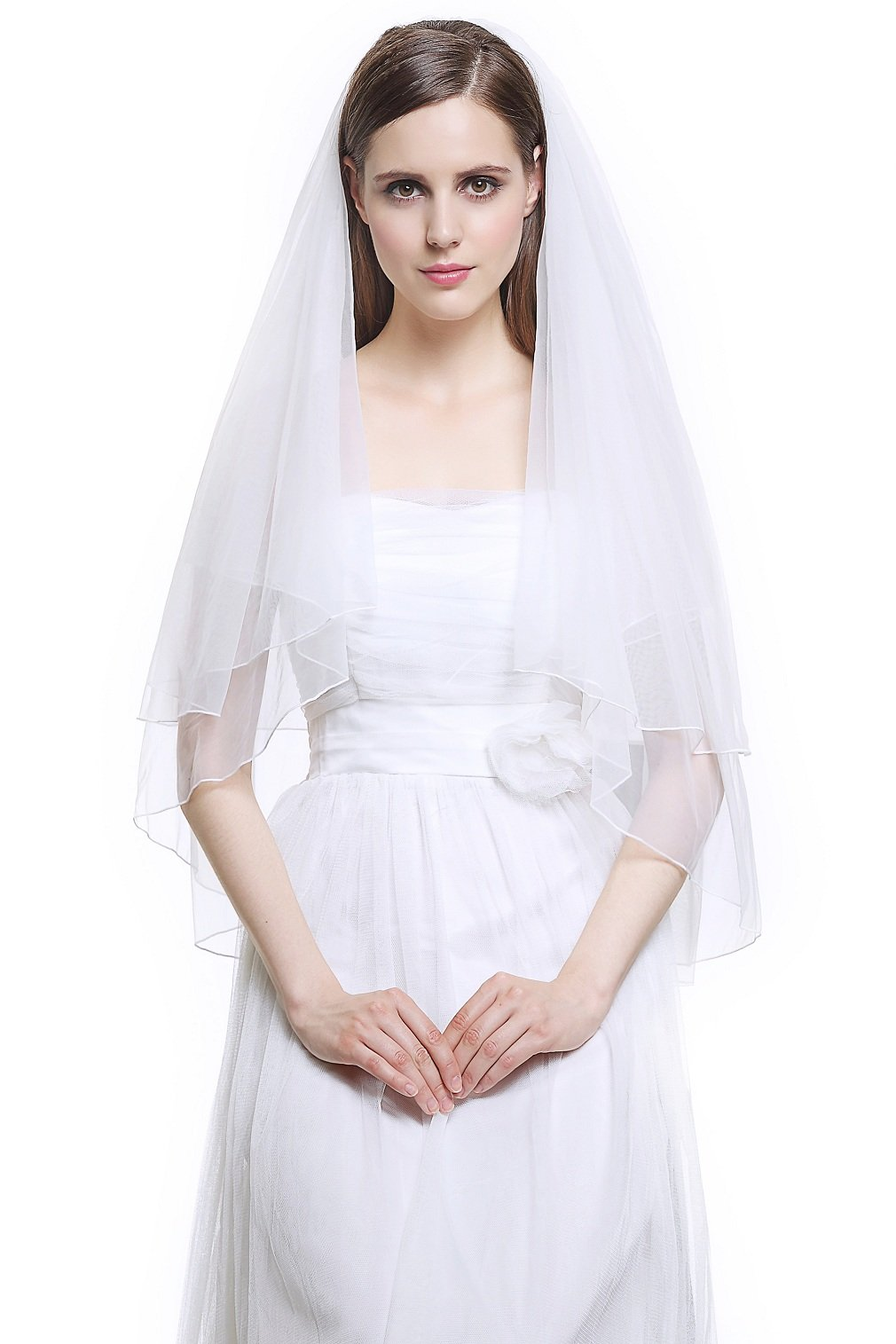 Wedding Bridal Veil with Comb 2 Tier Cut Edge Fingertip Length 35'' Ivory