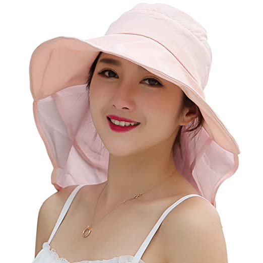9bde5674ffae6d JOYEBUY Women Wide Brim Sun Hats UV Protection Summer Beach Visor Cap  (A-Pink