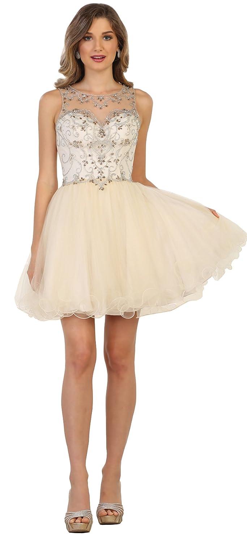 Champagne Formal Dress Shops Inc FDS1555 Graduation Short Demure Dress