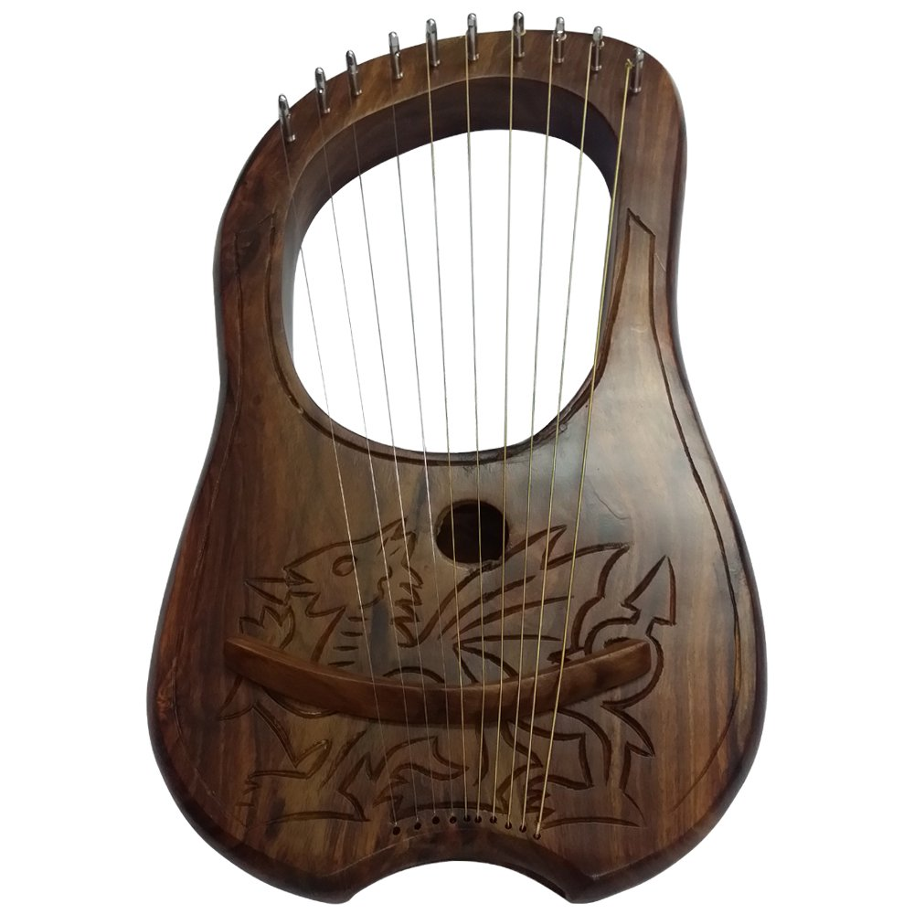 AAR Lyre Harp 10 Metal Stings Engraved Welsh Dragon Design/Lyre Harfe/Lyra Harp AAR Products