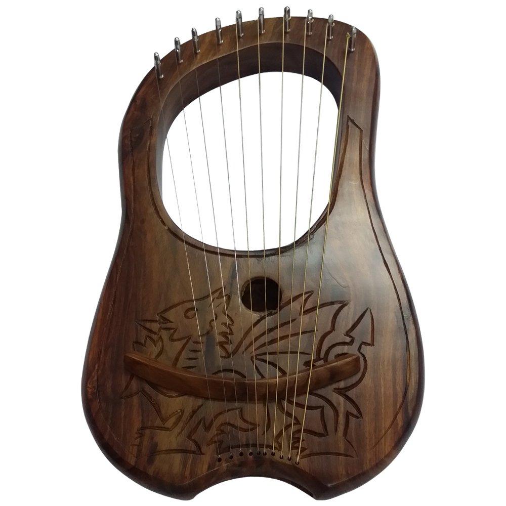 AAR Lyre Harp 10 Metal Stings Engraved Welsh Dragon Design/Lyre Harfe/Lyra Harp by AAR