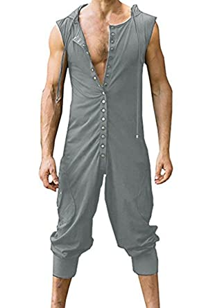 bd717443f2b3 Sherrylily Mens Hoodie Button Romper Sleeveless Sports One Piece Jumpersuit  Overalls at Amazon Men s Clothing store