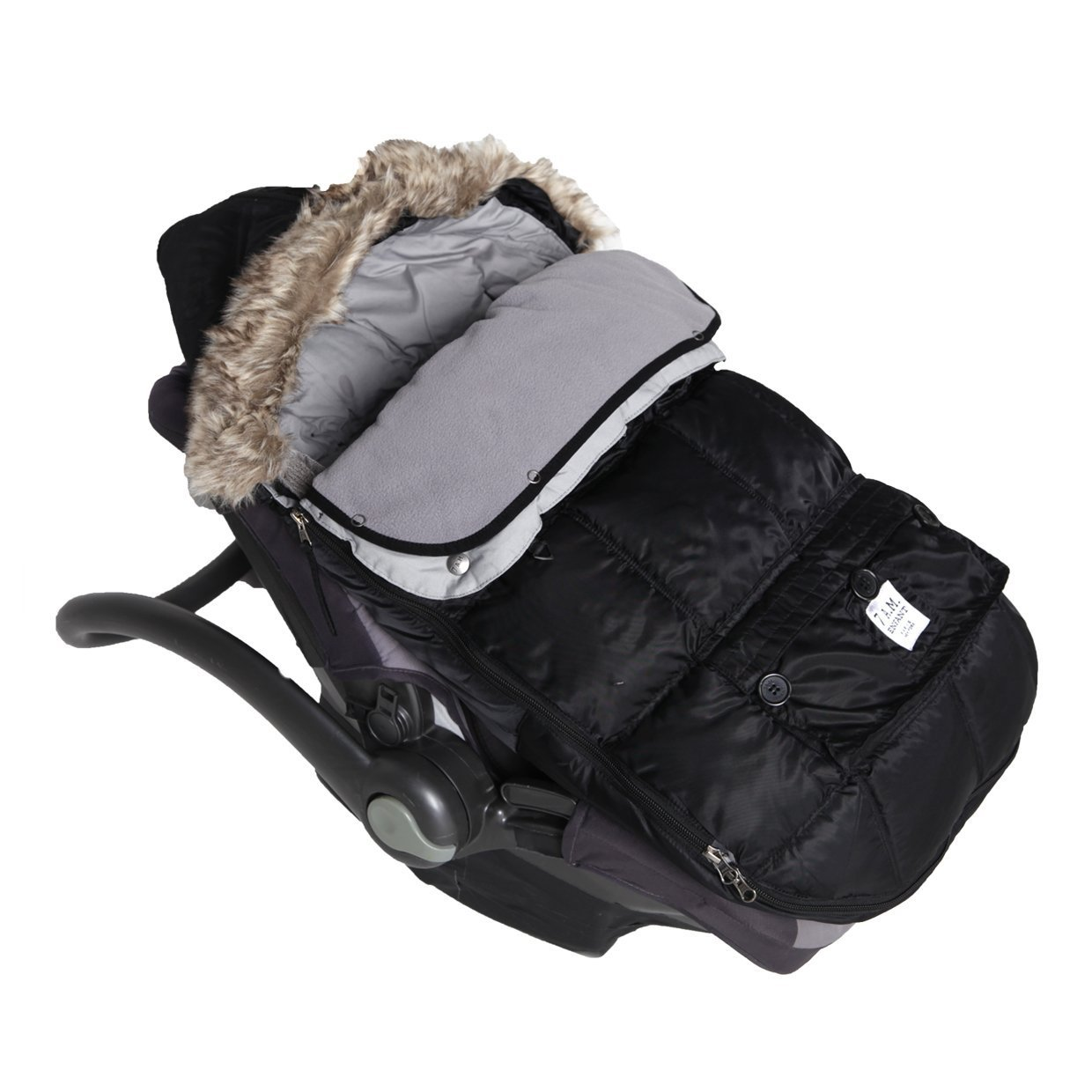 7AM Enfant Le Sac Igloo, Wind and Water Resistant, Stroller and Car Seat Footmuff, Convertible into a Single Panel Cover, Best for Freezing Winter Conditions (Black, Small 0-6M)