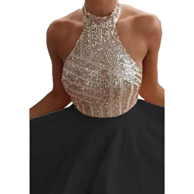 a9fb1efdf04 Yi Dao Halter Sequin Prom Dress Short Backless Homecoming Party Evening  Gowns Black