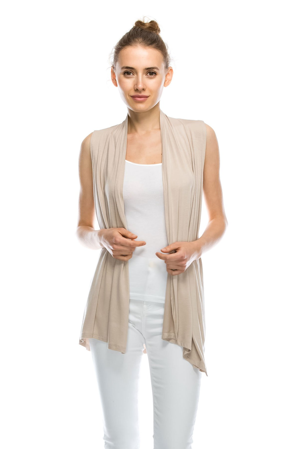 J Doe Style Womens Lightweight Sleeveless Open Front Cardigan, M, Khaki