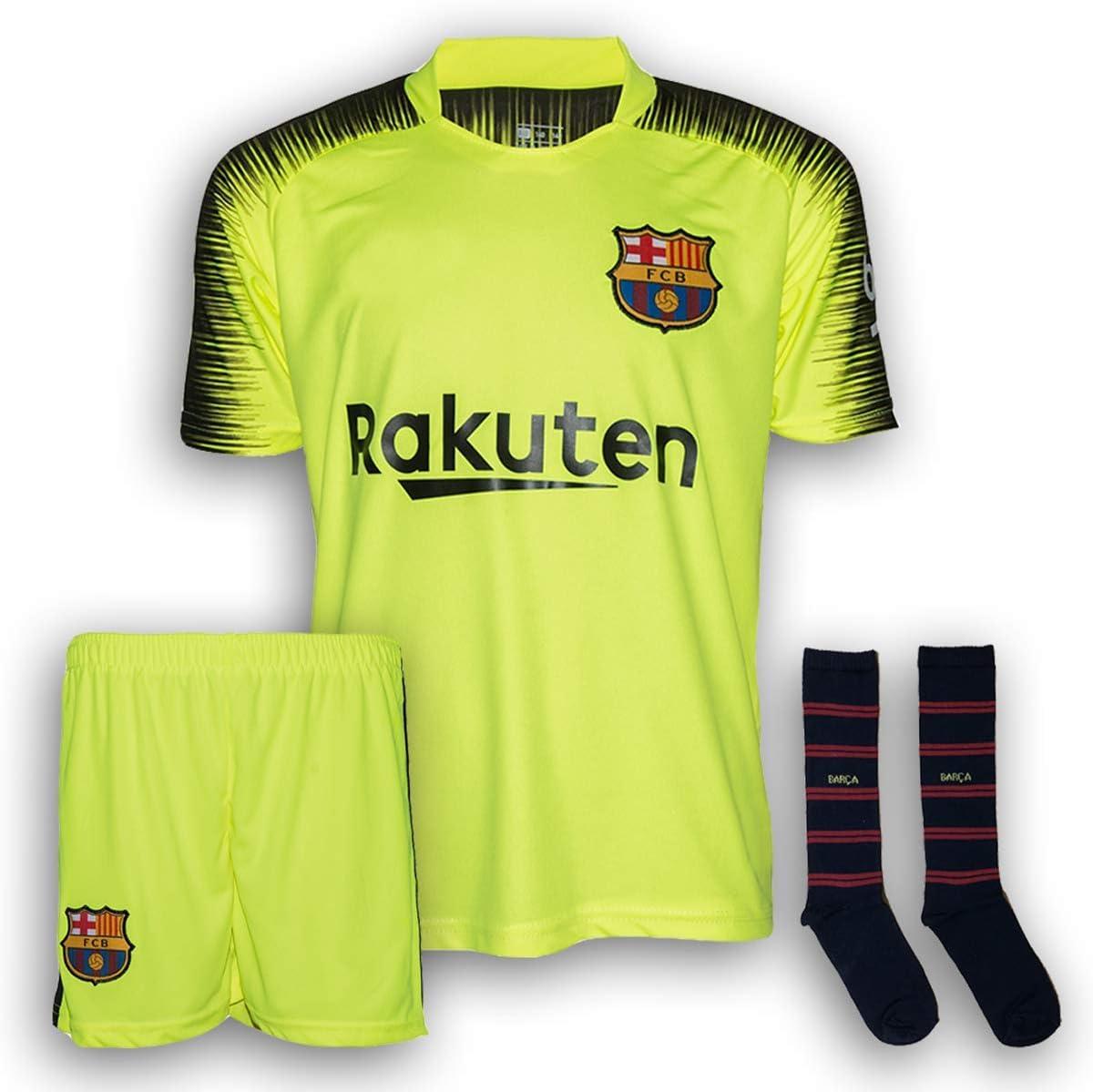 Kit Anpassbar FC Barcelona Kinder Ausw/ärts Trikot und Short Set Offizielles Produkt Replica 2018//2019