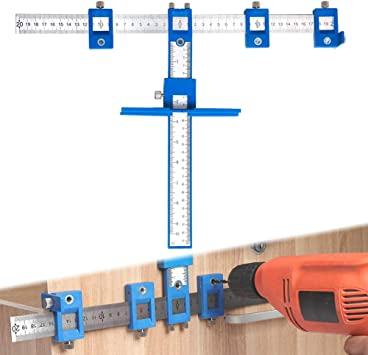 Cabinet Hardware Jig Drill Guide for Handles and Knobs on Drawer and Door Punch Locator Template Wood Doweling Jig Kit Aluminum Metal Hole Jig Kit with Storage Bag