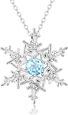 Sterling Silver Snowflake Necklace with Blue Topaz Accent Stone