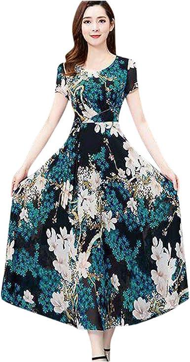 Sannysis Womens Short Sleeve Print Bohemian Dress Maxi Dress L White