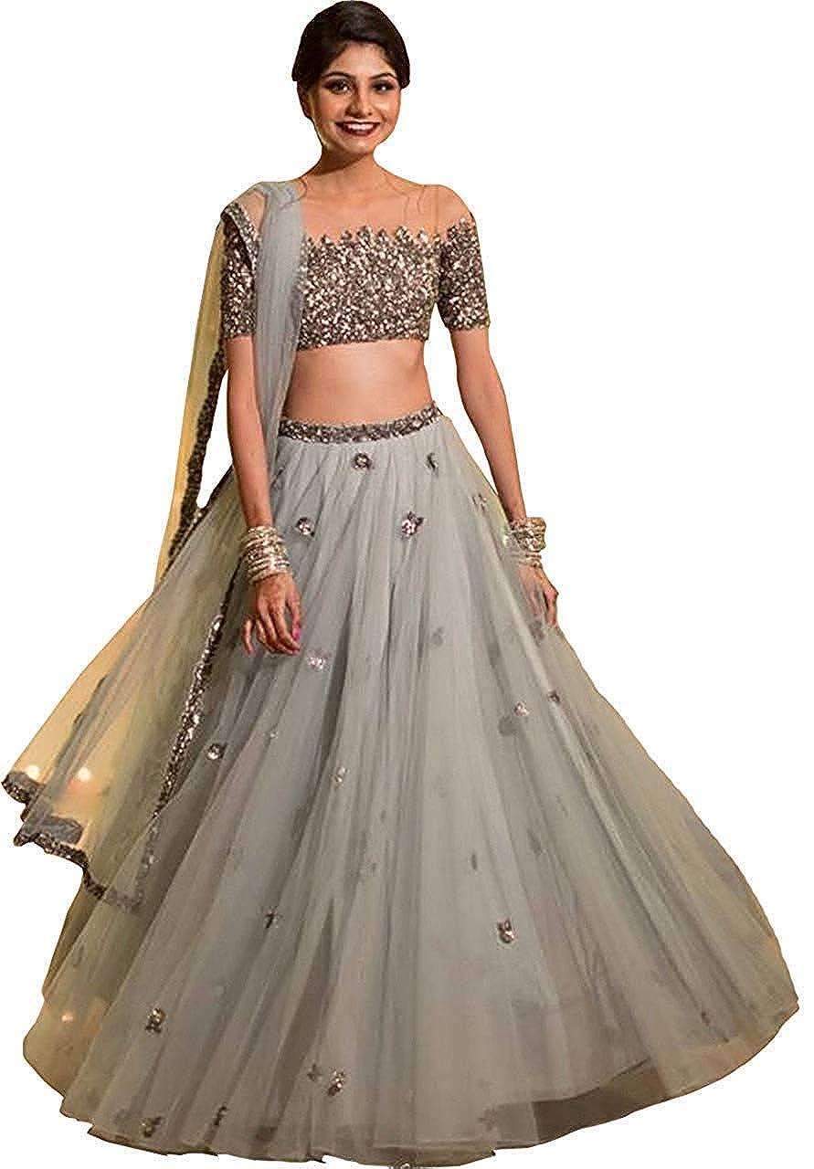 Varudi Fashion Women's Embroidered Semi Stitched Lehenga Choli With Blouse Piece (BB1_FreeSize)