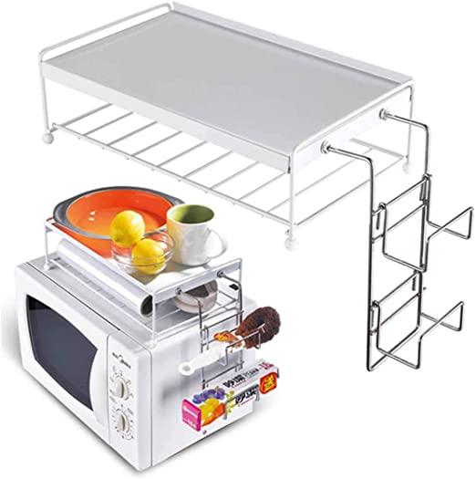BAKAJI - Estante para Horno microondas - Organizador con Estante Superior para Accesorios de Cocina con Soporte de Metal y plástico ABS - Color Blanco: Amazon.es: Juguetes y juegos