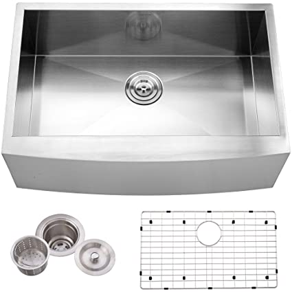 Hotis Commercial Stainless Steel 30 Inch 16 Gauge10 Inch Deep Drop In  Undermount Single Bowl Farmhouse