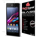 TECHGEAR® Sony Xperia Z1 GLASS Edition Genuine Tempered Glass Screen Protector Guard Cover (Xperia Z1)