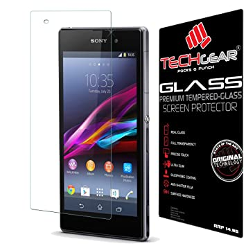 8d022ad0d4167b TECHGEAR Screen Protector for Xperia Z1 - GLASS Edition Genuine Tempered  Glass Screen Protector Guard Cover