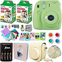 Fujifilm Instax Mini 9 Instant Camera (Lime Green) + INSTAX Film (40 pack) + Custom Fitted Case + 4 AA Rechargeable Batteries & Charger + Assorted Frames + Photo Album + Large Selfie Mirror + MORE