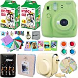 Fujifilm Instax Mini 9 Instant Camera LIME GREEN + INSTAX Film (40 Sheets) + Accessories Kit / Bundle + Custom Fitted Case + 4 AA Rechargeable Batteries & Charger + Assorted Frames + Photo Album +MORE