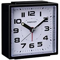 FAMICOZY Small Alarm Clock,Silent Non Ticking with Snooze and Backlight,Crescendo Alarm,Big Numbers for Easy Reading…