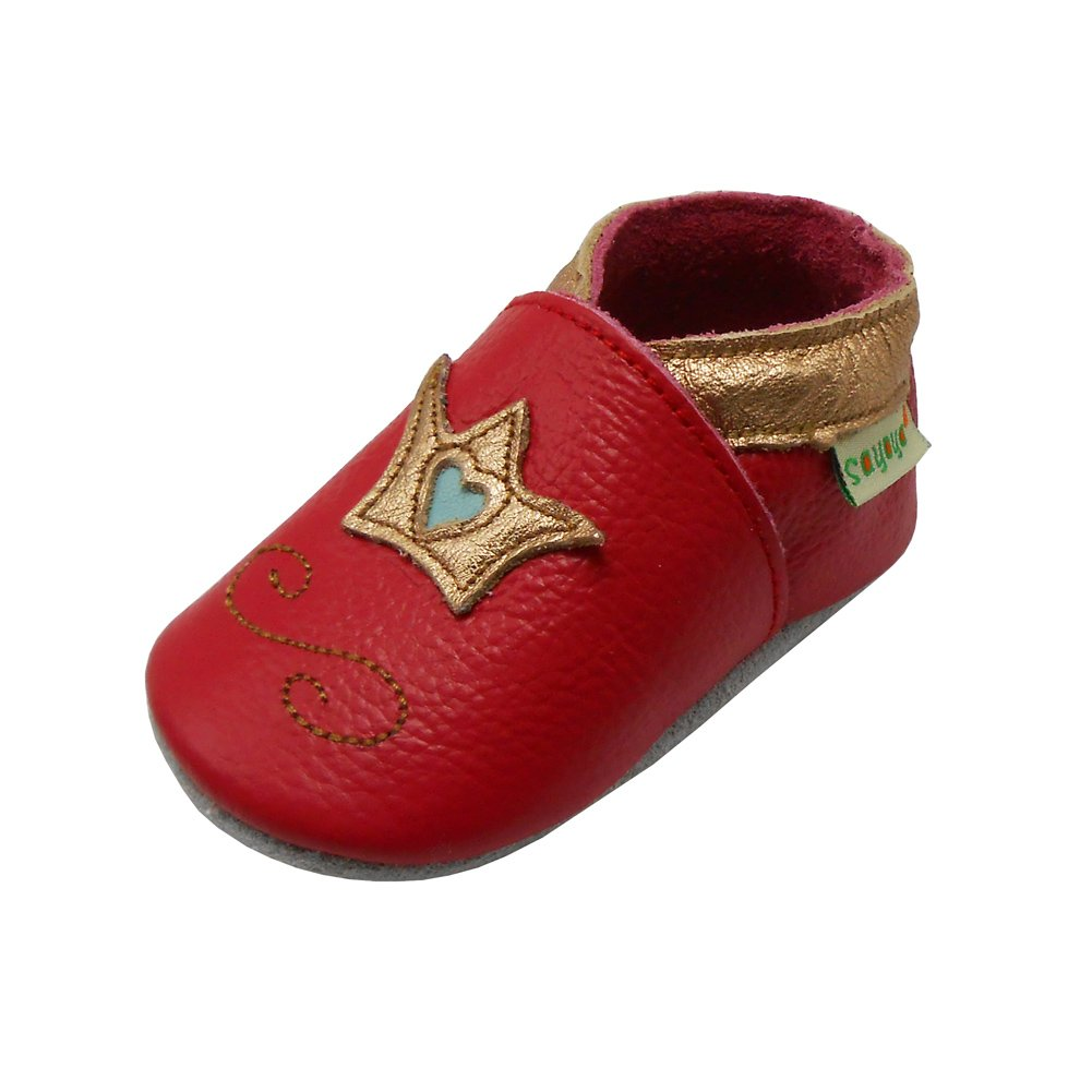Sayoyo Baby Krone Lauflernschuhe Leder Weiche Sohle Baby Mä dchen Baby Jungen Kugelsicherer Krippe Enfants Schuhe Schwarz A1127-DE