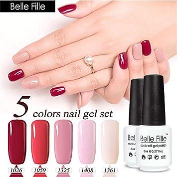 Amazon.com : Belle Fille 5 Colors Nail Gel Polish Set Professional ...