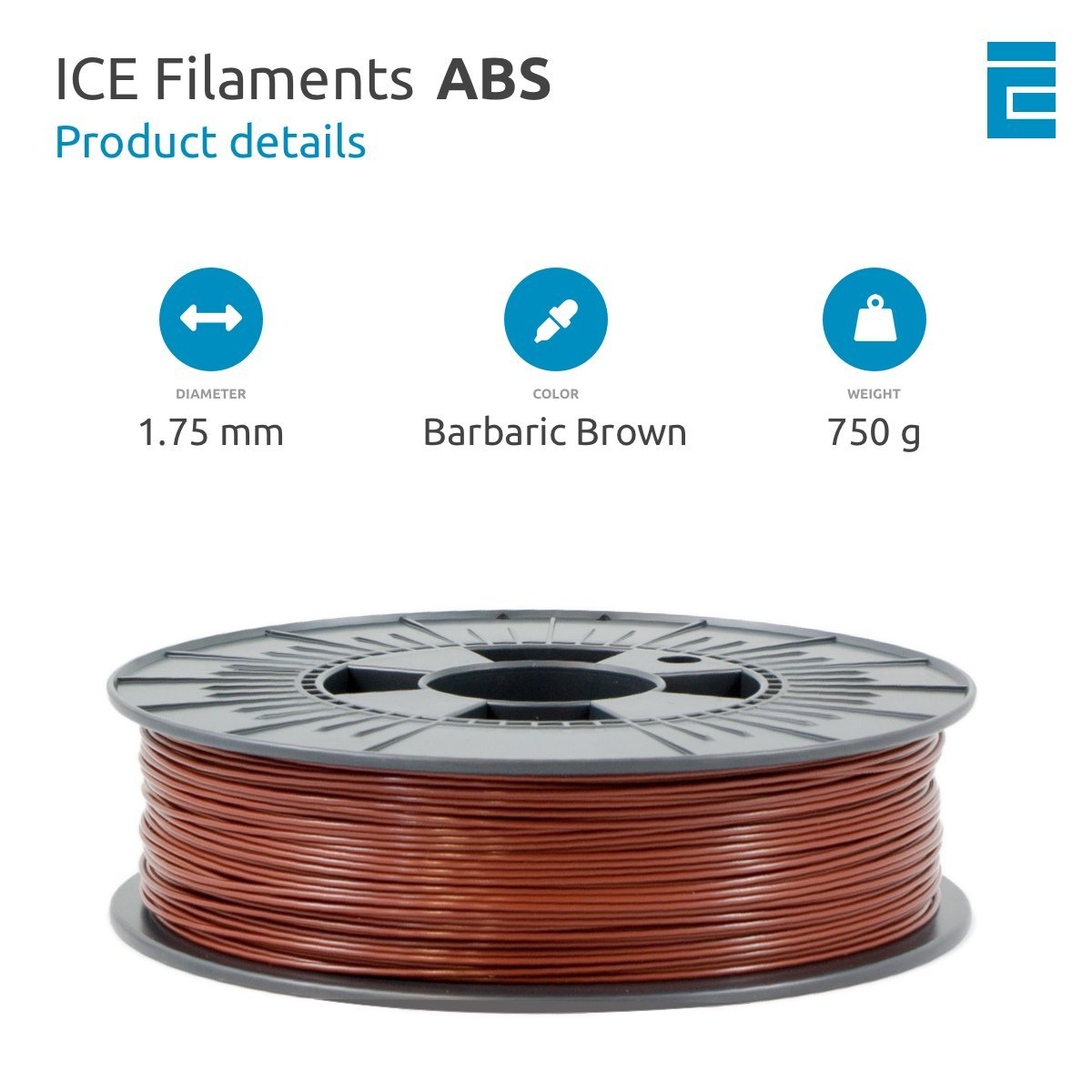 ICE Filaments ICEFIL1ABS079 filamento ABS,1.75mm, 0.75 kg ...